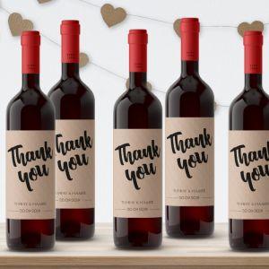Wijnfleslabel kraft bedankt (4st)