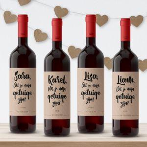 Wijnfleslabel kraft getuigen vragen (4st)