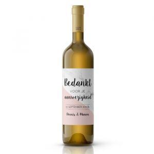 Wijnfleslabel marmer roze pastel bedankt bruiloft