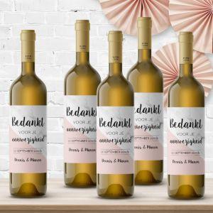 Wijnfleslabel marmer roze pastel bedankt (4st)