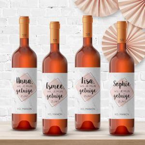 Wijnfleslabel marmer roze pastel getuigen vragen (4st)