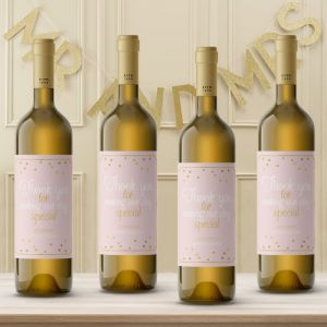 Wijnfleslabel pastel perfection roze goud bedankt (4st)