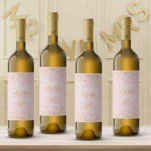 Wijnfleslabel pastel perfection roze goud getuigen (4st)