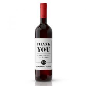 Wijnfleslabel modern typografisch bedankt