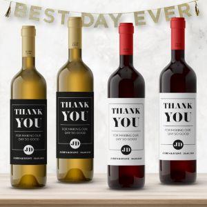 Wijnfleslabel modern typografisch bedankt (4st)