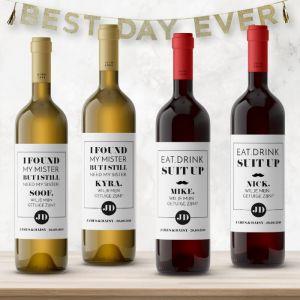 Wijnfleslabel modern typografisch getuigen man & vrouw (4st)