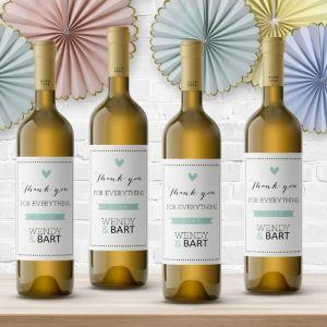 Wijnfleslabel pastel mintgroen bedankt (4st)