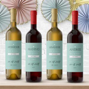 Wijnfleslabel pastel mintgroen getuigen vragen (4st)