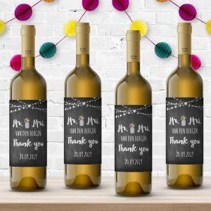 Wijnfleslabel festival krijtbord bedankt (4st)