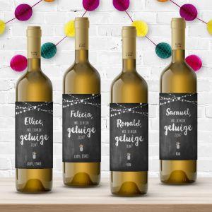 Wijnfleslabel festival krijtbord getuigen (4st)