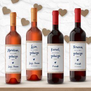 Wijnfleslabel indigo eco getuigen vragen (4st)