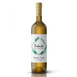 Wijnfleslabel tropische bladeren bedankt bruiloft