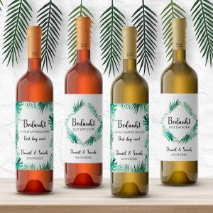 Wijnfleslabel tropische bladeren bedankt (4st)