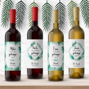 Wijnfleslabel tropische bladeren getuigen vragen (4st)