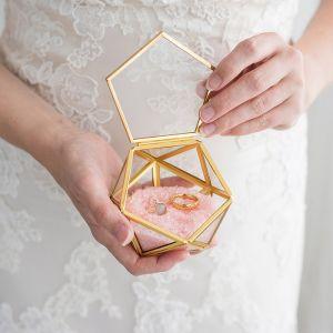 Glazen ringdoosje geometrisch goud