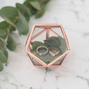 Glazen ringdoosje geometrisch roségoud