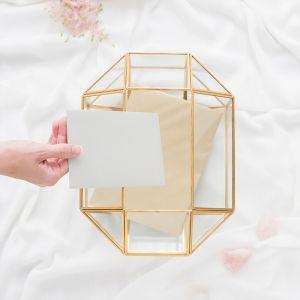 Glazen enveloppendoos geometrisch goud