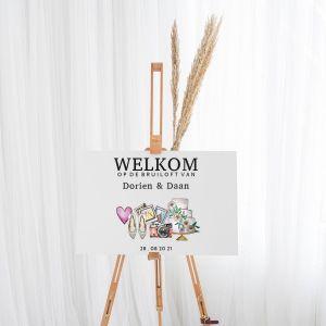 Gepersonaliseerd welkomstbord bruiloft watercolor festival