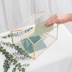 Glazen enveloppendoos huis goud