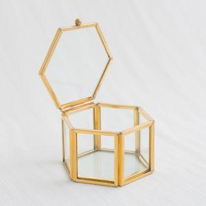 Glazen ringdoosje hexagon goud (8x7x5cm) House of Gia