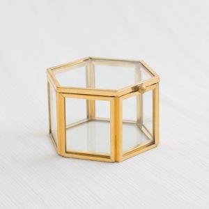 Glazen ringdoosje hexagon goudkleurige randjes