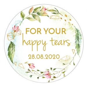 Etiket rond 35mm happy tears geometric floral
