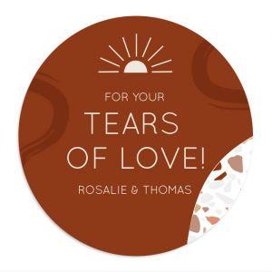 Etiket rond 35 mm happy tears Rustic love