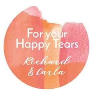 Happy tears etiket coral aquarelle