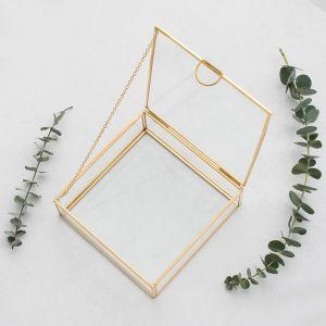 Glazen bewaardoosje goud