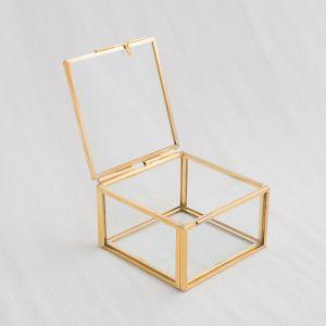 Glazen ringdoosje vierkant goud (8x7x5cm) House of Gia