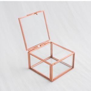 Glazen ringdoosje vierkant roségoud (8x7x5cm) House of Gia