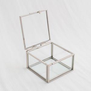 Glazen ringdoosje vierkant zilver (8x7x5cm) House of Gia