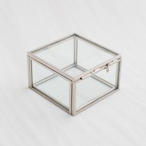 glazen ringdoosje zilverkleurige randjes