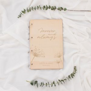 Houten gastenboek dandelion