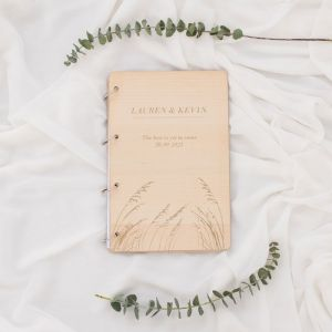 Houten gastenboek Pampas gras