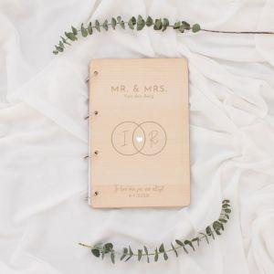 Houten gastenboek ringen