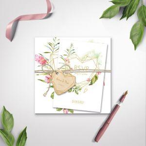 Houten hartje geometric floral