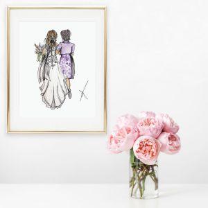 Persoonlijke illustratie bruid+moeder Sophie de Ruiter
