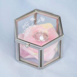Ringdoosje glas hexagon Blush botanics