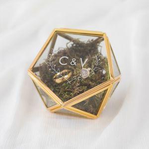 Ringdoosje glas geometrisch woodland met initialen