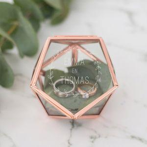 Ringdoosje glas hexagon krans met namen