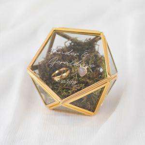 Ringdoosje glas geometrisch chique met namen