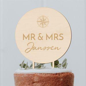 Taarttopper met kompas Mr & Mrs met achternaam