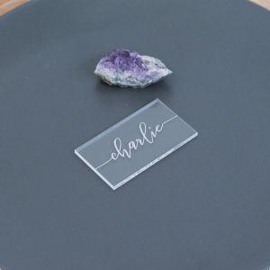 Acryl naamkaartjes rechthoek sierlijk