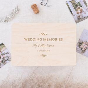 houten wedding memories box met takjes en namen