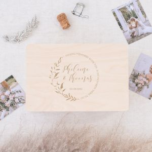 Houten wedding memorybox Blush botanics