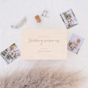 Houten wedding memory box modern met namen