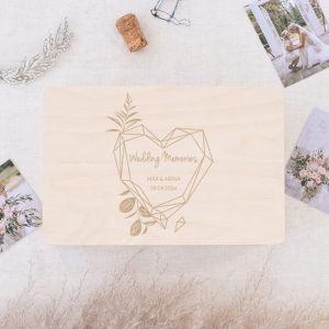 Houten wedding memorybox geometric floral
