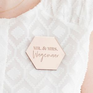 Corsage hexagon modern Mr & Mrs