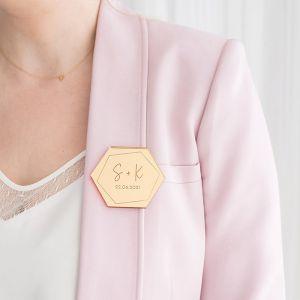 Corsage hexagon geometrisch met initialen